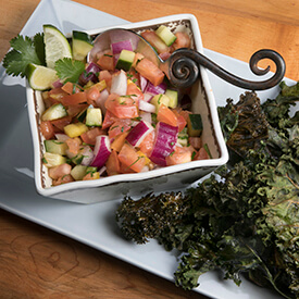 Zesty garden salad with kale chips