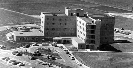Aerial shot of the hospital